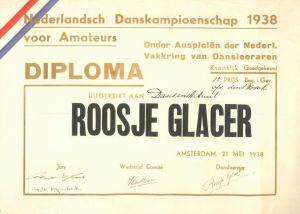 Rosie's 1938 championship diploma