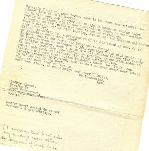 A letter from Rosie in Westerbork, 1942