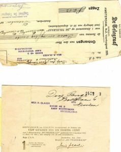 Rosie's payment stub for the Daily Telegraph, which she received in Westerbork