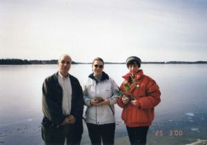 Paul Glaser with his sister and daughter, before scattering Rosie's ashes in Sweden