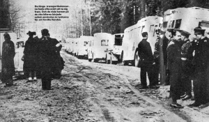 66 - A newspaper clipping from Rosie's archive shows the Swedish Red Cross waiting in the mud at the Danish border