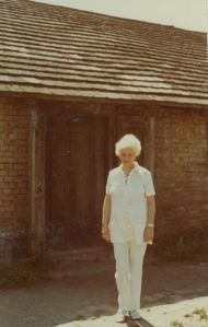 Rosie visiting her barrack in Birkenau after the war