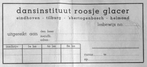 A registration slip for Rosie's dance school