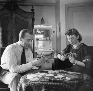 Rosie playing cards with Ernst