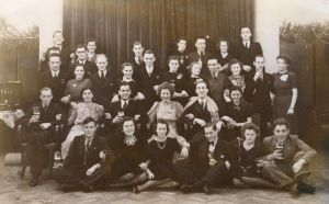 Rosie surrounded by her dance students in Eindhoven, 1941