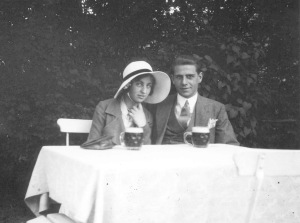 Rosie and her boyfriend, Wim, on a café terrace, 1933