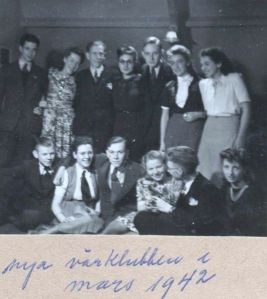 Rosie, far right, with students in her attic, 1942