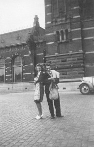 Rosie and her brother John in front of the railway station, October 1940