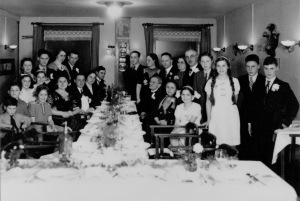 A family gathering in 1939. The only two survivors were Moritz Glaser (standing, second from left) and Harry Glaser (standing, fourth from right)