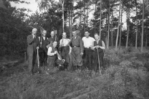 Falk Glaser, far left, at labor camp in Heino